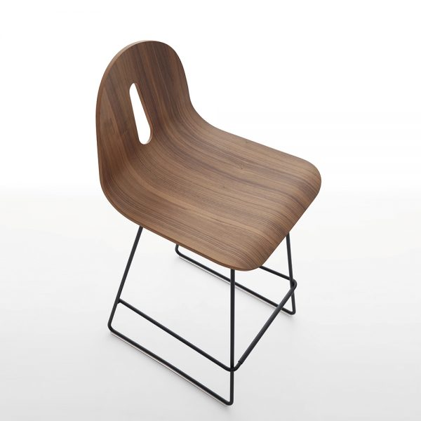 Jane Hamley Wells GOTHAMWOODY_SL-SG-80_B restaurant bar stool bentwood ash seat painted steel sled base