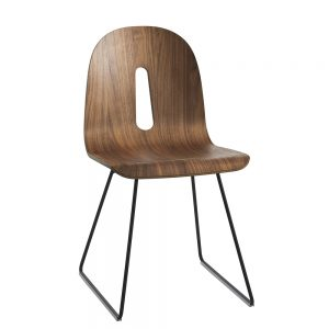 Jane Hamley Wells GOTHAMWOODY_SL_A modern café dining chair molded walnut veneer seat on steel sled base