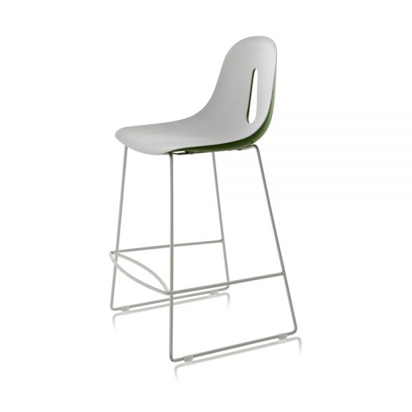 Jane Hamley Wells GOTHAM_SL_SG-65_A modern counter stool polyurethane seat on chrome or steel sled base