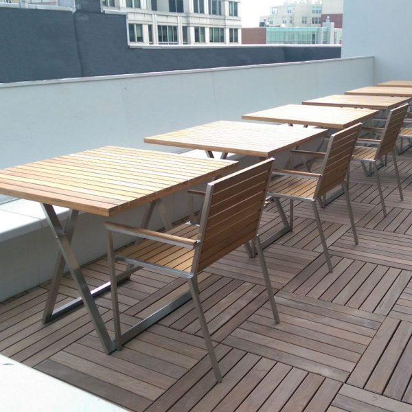 Jane Hamley Wells JAZZ_JZ8101 modern outdoor square dining table teak stainless steel lifestyle_1
