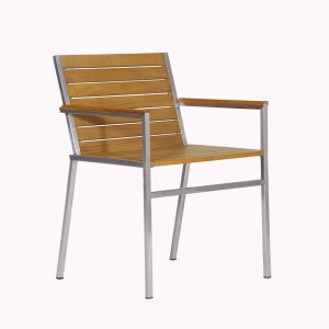 Jane Hamley Wells JAZZ_JZ9102_A modern outdoor stacking dining armchair teak and stainless steel