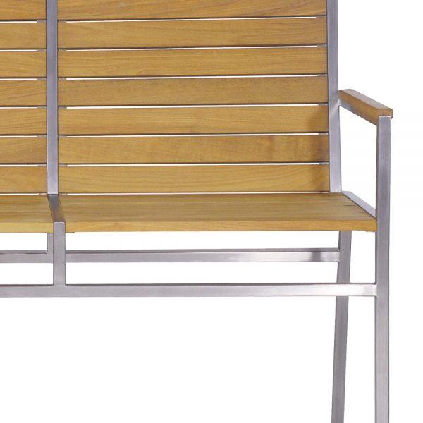 Jane Hamley Wells JAZZ_JZ9103_9104_B modern indoor outdoor stackable dining park bench with backrest teak wood stainless steel frame detail_1