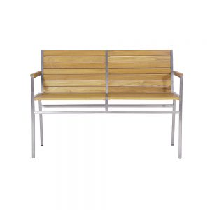 Jane Hamley Wells JAZZ_JZ9103_A modern indoor outdoor stackable 2-Seater armrest bench teak wood stainless steel frame