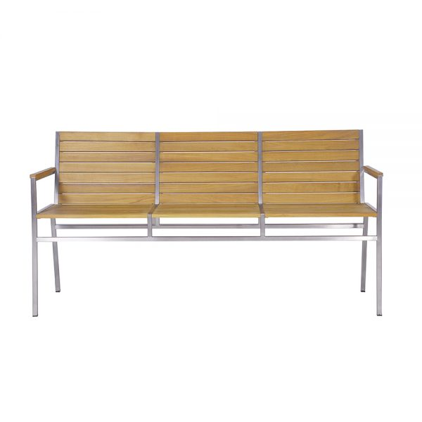 Jane Hamley Wells JAZZ_JZ9104_A modern indoor outdoor stackable 3-Seater armrest bench teak wood stainless steel frame