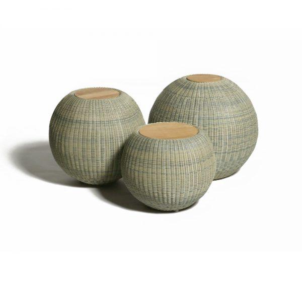 Jane Hamley Wells JETSET_DOVJSK modern indoor outdoor round side tables teak top woven sphere base stone color group_1