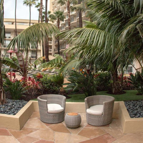 Jane Hamley Wells JETSET_DOVJSK modern indoor outdoor round side tables teak top woven sphere base stone color lifestyle_1