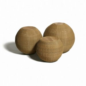 Jane Hamley Wells JETSET_DOVJSN modern indoor outdoor round side tables teak top woven sphere base natural color group_1