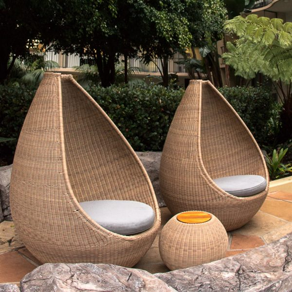 Jane Hamley Wells JETSET_DOVJSN modern indoor outdoor round side tables teak top woven sphere base natural color lifestyle_2
