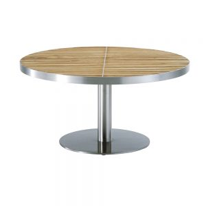 Jane Hamley Wells KURF_8704 luxury modern outdoor round coffee table teak stainless steel
