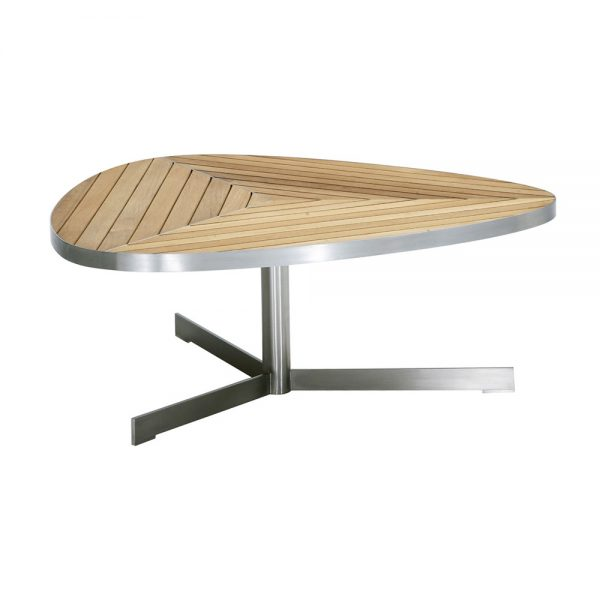 Jane Hamley Wells KURF_8705 luxury modern outdoor triangle coffee table teak stainless steel