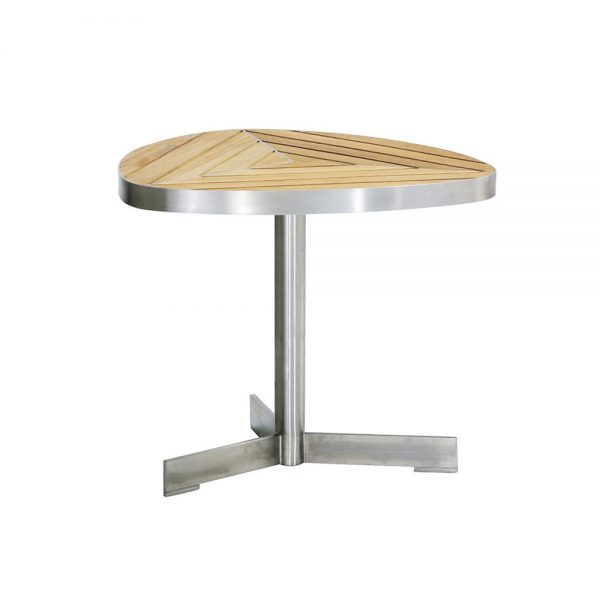 Jane Hamley Wells KURF_8708 luxury modern outdoor triangle side table teak stainless steel