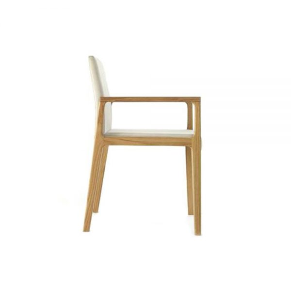 Jane Hamley Wells LOLA_1-135_A contemporary restaurant dining armchair upholstered seat and back wood arm and legs