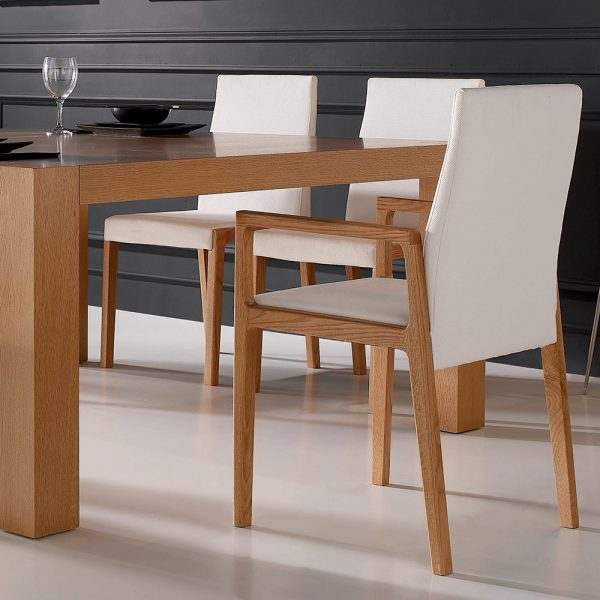 Jane Hamley Wells LOLA_1-137 contemporary dining armchair upholstered high back and seat wood arms and legs lifestyle_1