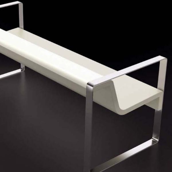 Jane Hamley Wells MEETINGPOINT_DSIN101401_A modern commercial indoor outdoor accent park bench fiberglass stainless steel