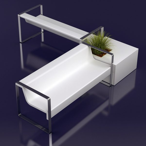 Jane Hamley Wells MEETINGPOINT_DSIN101401_C modern commercial indoor outdoor accent park bench fiberglass stainless steel