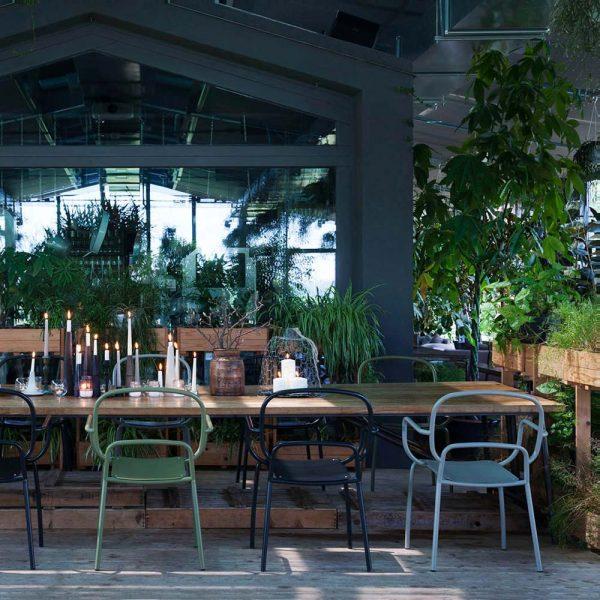 Jane Hamley Wells MOYO stacking indoor outdoor café dining armchair powder-coated steel lifestyle_2