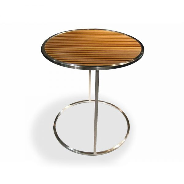 Jane Hamley Wells MU_MU8550_A modern outdoor round side table teak top stainless steel legs