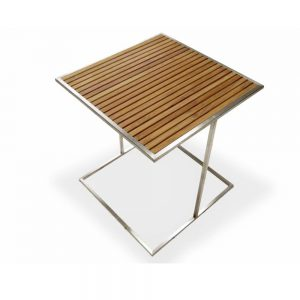 Jane Hamley Wells MU_MU8551_A modern outdoor square side table teak top stainless steel legs