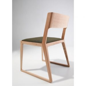 Jane Hamley Wells NORD_2-167_A modern dining chair upholstered seat with wood sled base