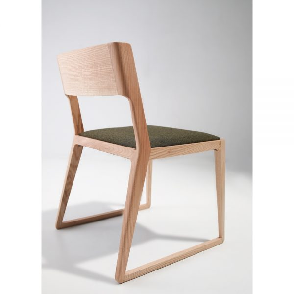 Jane Hamley Wells NORD_2-174_A modern dining chair upholstered seat with wood sled base