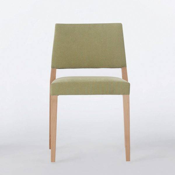 Jane Hamley Wells SARI_002-139_A stacking restaurant café dining chair upholstered seat and back wood legs