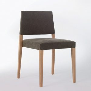 Jane Hamley Wells SARI_002-140_A stacking restaurant café dining chair upholstered seat and back wood legs