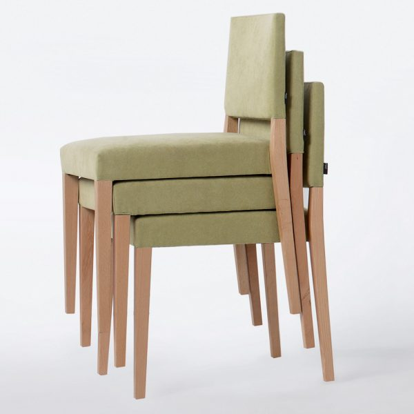 Jane Hamley Wells SARI_002-140_B stacking restaurant café dining chair upholstered seat and back wood legs
