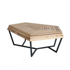 Jane Hamley Wells SELF_SF8552_A modern indoor outdoor coffee table bench teak top powder-coated stainless steel