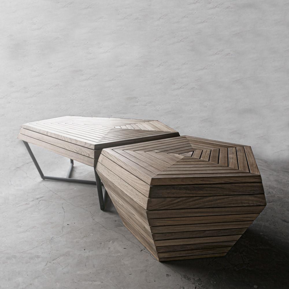 Teak Wood Dining Table White Powder Coated Legs White: SELF Coffee Table Bench, Medium