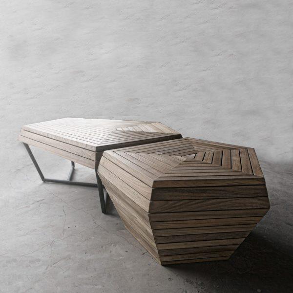 Jane Hamley Wells SELF_SF8552_SF3553 modern indoor outdoor coffee table benches teak powder-coated stainless steel group_1