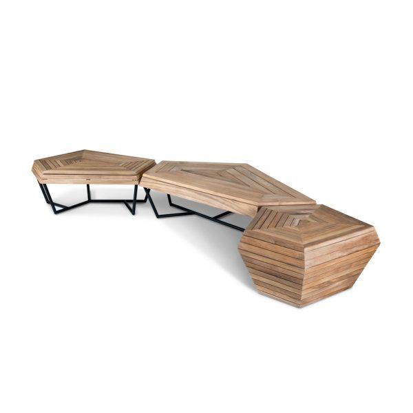 Jane Hamley Wells SELF_SF8552_SF8551_SF3553 modern indoor outdoor coffee table benches teak powder-coated stainless steel group_2
