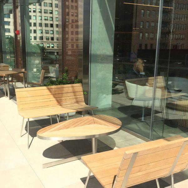 Jane Hamley Wells SPLINTER_SP0701LR modern indoor outdoor set of two interlocking chair bench teak stainless steel lifestyle_1