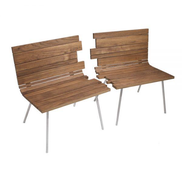 Jane Hamley Wells SPLINTER_SP0701_B modern indoor outdoor set of two interlocking chair bench teak stainless steel