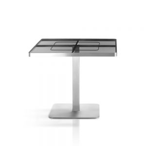 Jane Hamley Wells SUNGLASS_SU8801_A modern indoor outdoor square dining table tempered glass top stainless steel