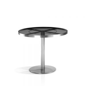 Jane Hamley Wells SUNGLASS_SU8802_A modern indoor outdoor round dining table tempered glass top stainless steel