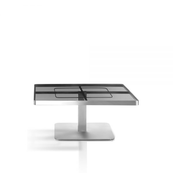Jane Hamley Wells SUNGLASS_SU8803_A modern indoor outdoor square coffee table tempered glass top stainless steel