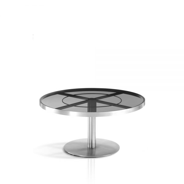 Jane Hamley Wells SUNGLASS_SU8804_A modern indoor outdoor round coffee table tempered glass top stainless steel
