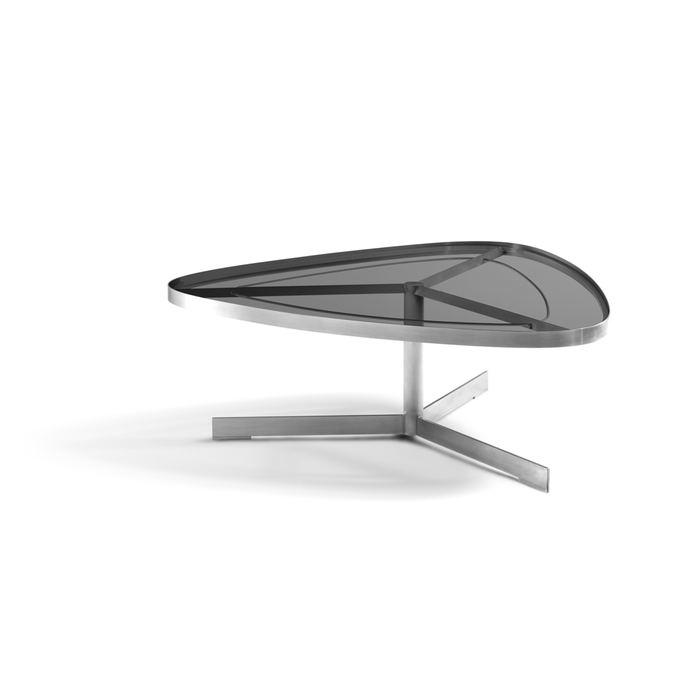 Jane Hamley Wells SUNGLASS_SU8805_A Modern Indoor Outdoor Triangle Coffee  Table Tempered Glass Top Stainless Steel