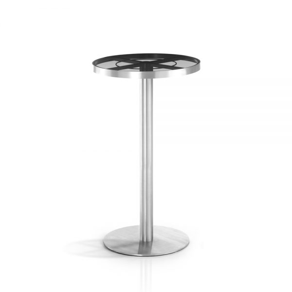 Jane Hamley Wells SUNGLASS_SU8807_A modern indoor outdoor round bar table tempered glass top stainless steel