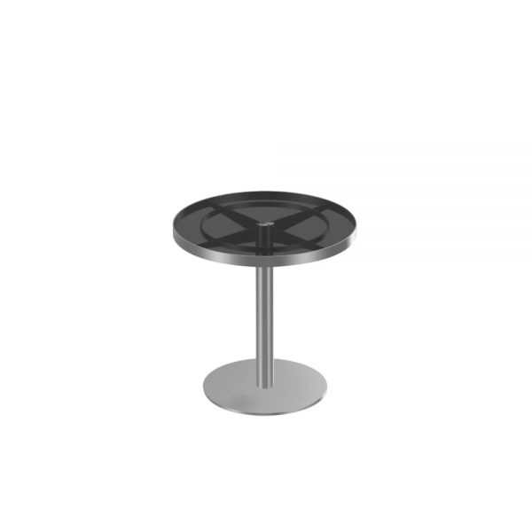Jane Hamley Wells SUNGLASS_SU8808_A modern indoor outdoor round side table tempered glass top stainless steel