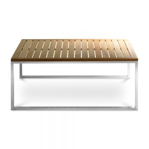 Jane Hamley Wells TAJI-TJ8002_A modern outdoor square coffee table teak top stainless steel legs