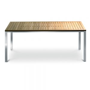 Jane Hamley Wells TAJI-TJ8003_A modern outdoor rectangle dining table teak top stainless steel legs