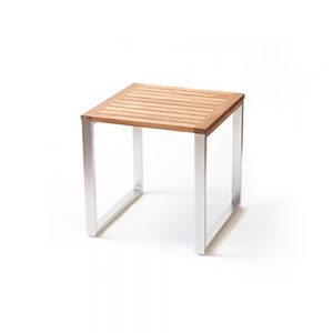 Jane Hamley Wells TAJI-TJ8021_A modern outdoor square side table teak top stainless steel legs