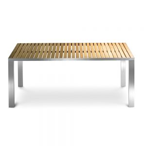 Jane Hamley Wells TAJI-TJ8549_A modern outdoor rectangle dining table teak top stainless steel legs