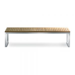 Jane Hamley Wells TAJI_TJ3001A_A modern large indoor outdoor bench backless teak wood stainless steel frame