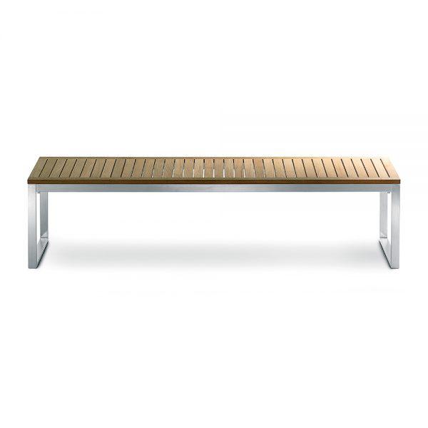 Jane Hamley Wells TAJI_TJ3001A_A modern large indoor outdoor bench backless teak wood stainless steel frame