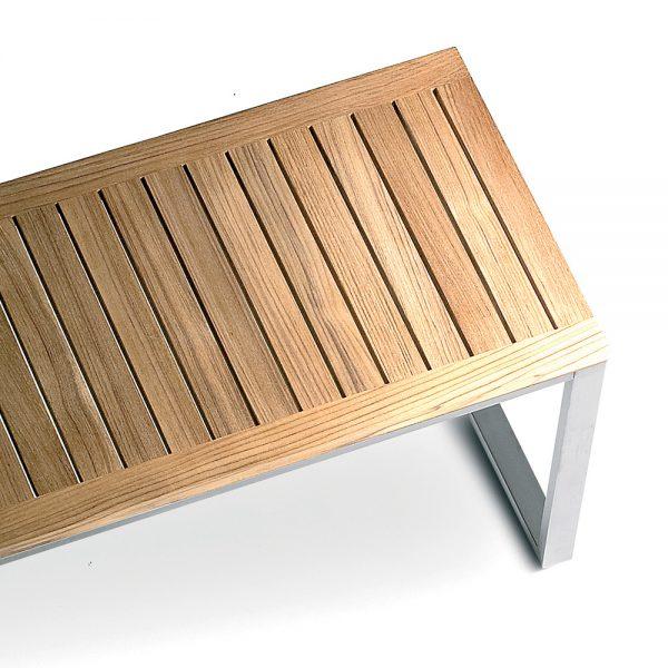 Jane Hamley Wells TAJI_TJ3001_B modern indoor outdoor dining bench backless teak stainless steel detail_1