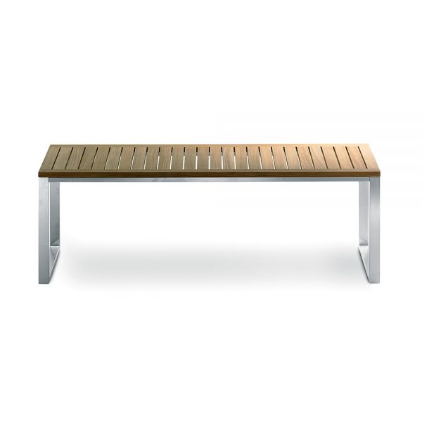 Jane Hamley Wells TAJI_TJ3002B_A modern medium indoor outdoor bench backless teak wood stainless steel frame