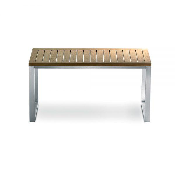 Jane Hamley Wells TAJI_TJ3003C_A modern small indoor outdoor bench backless teak wood stainless steel frame.jpg