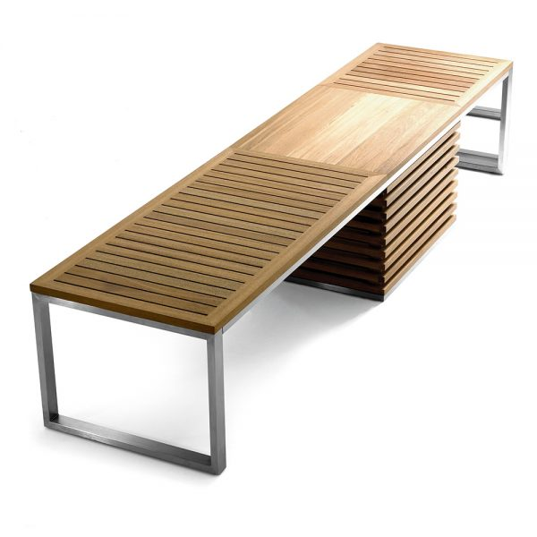 Jane Hamley Wells TAJI_TJ3004.L_A modern large indoor outdoor accent dining bench backless storage box teak stainless steel